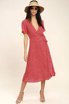 Lulus Exclusive! The Gimme Your Love Red Polka Dot Wrap Dress was made for dancing to love songs! Breezy woven poly, with a fun polka dot print, shapes this wrap dress with fluttering short sleeves, a darted wrap bodice and midi skirt with waist tie.