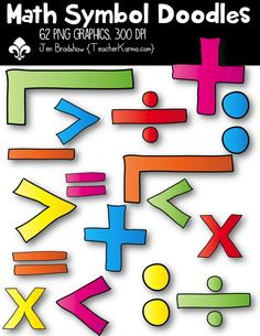 These ** 62 ** graphics are just perfect for adding to your classroom materials and educational products that you sell on Teachers Pay Teachers or other sell sites. Commercial and personal use is ok. Math Clipart, Classroom Clipart, Teaching First Grade, Teaching Kindergarten, Creative Teaching, Teaching Ideas, Teaching Resources, Math Cartoons, Resource Room Teacher
