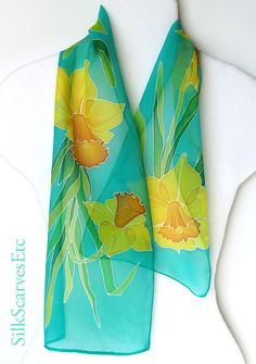 Teal silk chiffon scarf. Handpainted silk scarf. by SilkScarvesEtc, $45.00