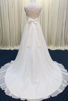 Romantic  Chiffon Wedding Dress Lace Wedding Dress by Whitesrose, $428.00