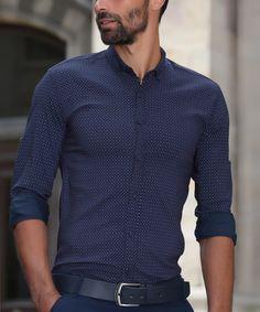 Look at this #zulilyfind! Dark Blue Pin Dot Slim-Fit Button-Up - Men's Regular…