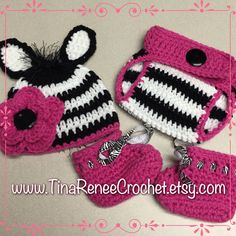 A personal favorite from my Etsy shop https://www.etsy.com/listing/246622995/crochet-zebra-hat-booties-and-diaper