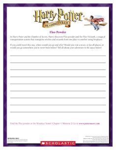 CREATIVE WRITING: Imagine you had access to the Floo Powder Network. Where would you go? Download by clicking the image above! For more activities visit www.scholastic.com/hpread #HarryPotter #HPread