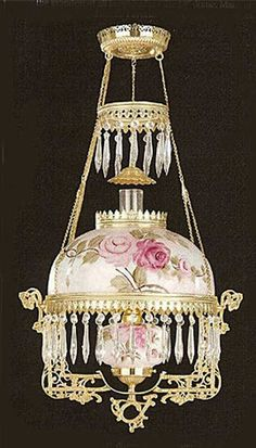 Rose Crystal.  Beautiful Victorian lamps such as these once hung from the ceilings of the most elegant Victorian dining rooms, libraries and foyers.: