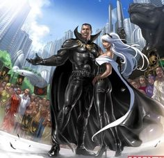 Black Panther  Storm ~ one of the best unions in comics. He rules Wakanda and her mutant powers were worshipped over a tribe in Africa. Together they are a majestic team of leadership.