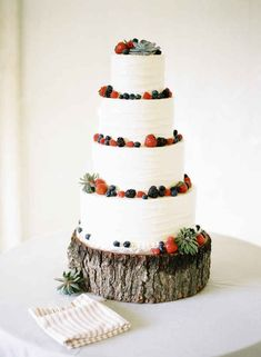 Put your cake on a log. | 42 Lovely Ideas For A Cold-Weather Wedding - love the succulents too