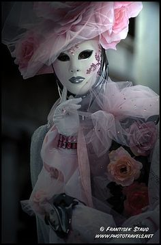 Beauty in Pink ~ woman dressed in ornamental carnival costume, Venice, Italy