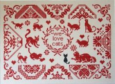 """""""We Love Cats"""" is the title of this cross stitch pattern from Stickideen von der Wiehenburg that can be stitch with this Dinky Dyes Fiber Silk Pack."""