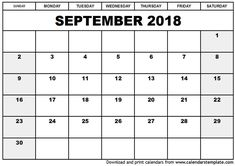 16 Best September 2018 Calendar Template Images On Pinterest 2018