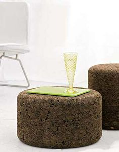 Jasper Morrison's simple table and stool are both made from solid cork, a sustainable material harvested from the renewable bark of trees. Cork is famously lightweight and spongy, making Morrison's stool a remarkably comfortable addition to any seating arrangement. Check out dwr.com.