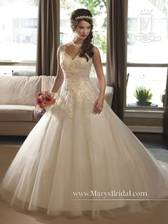 4835a2378bb8 Mary's Bridal - Unspoken Romance Lace and Tulle gown with semi-cathedral  train.