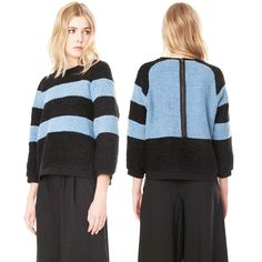 8c4435dad TIBI Panda Stripe Sweater Boucle Fuzzy Blue Chunky Knit Oversized  Sweatshirt M  Tibi  Crewneck
