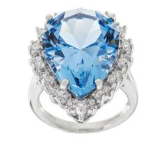 Cool waters. Stare into the captivating blue of this pear-shaped, framed Diamonique(R) simulated aquamarine, and envision your favorite Caribbean beach. An openwork gallery allows a shower of light to flood through this gorgeous ring.