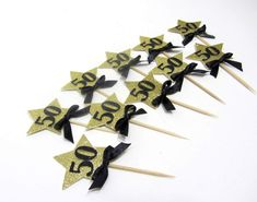 Party Decorations – 50th Birthday. Star Cupcake Toppers. Fifty B-day – a unique product by MagicalStart on DaWanda