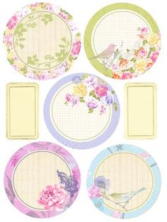Free Prima Printable: A Cherry On Top round floral gift tags or labels Free Printable Tags, Printable Stickers, Printable Paper, Planner Stickers, Free Printables, Decoupage, Image Deco, Art Carte, Diy And Crafts