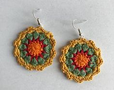 Items similar to Crochet Earrings, Pendants, Handmade Crochet Earrings on Etsy Handmade Statement Necklace, Handmade Necklaces, Handmade Jewelry, Etsy Handmade, Handmade Silver, Handmade Items, Beaded Tassel Earrings, Diy Earrings, Gold Earrings