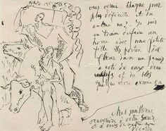 Letter from Picasso to Leo and Gertrude Stein, Yale Collection of American Literature. Gertrude Stein and Alice B. 2008 Estate of Gertrude Stein. Estate of Pablo Picasso. Pablo Picasso, Picasso Drawing, Picasso Sketches, Travel Sketchbook, Artist Sketchbook, Famous Artists, Great Artists, Alexander Calder, Art Graphique