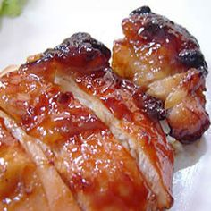 baked teriyaki chicken thighs - boneless/skinless thighs and cooked covered in sauce (did not bother with basting) for about 30 minutes, then removed foil to bake about 25 more minutes. I Love Food, Good Food, Yummy Food, Yummy Yummy, Baked Teriyaki Chicken, Steamed Chicken, Glazed Chicken, Asian Recipes, Healthy Recipes