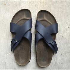 Birkenstock Sandals Authentic Birkenstock Sandals. Worn once and has soles that are almost brand new. The bed of the shoes are a little dark but that is it. These are size 9. Price is negotiable but nothing under $45. No trade. Birkenstock Shoes Sandals
