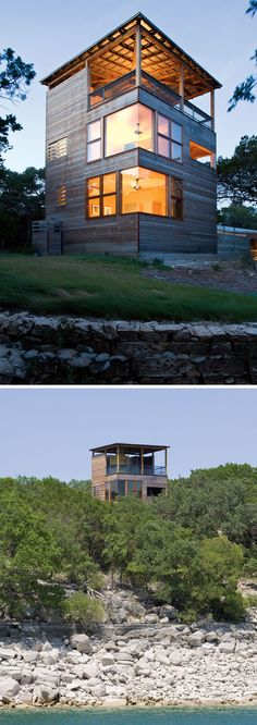 This three-storey modern tower rises up out of the forest and provides views of Lake Travis, which is barely visible at ground level through the surrounding trees. #ModernArchitecture