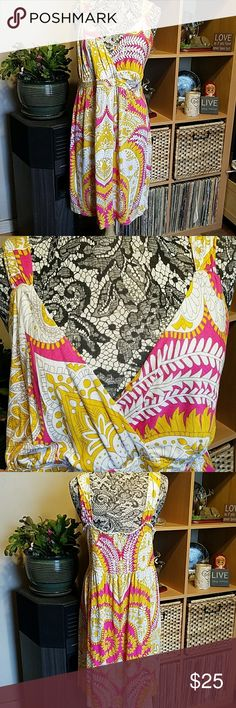 """INC International Concepts woman sundress INC International Concepts woman sundress 100% rayon. Elastic across back vibrant colors. Pre-loved Approximate measurements lying flat 19"""" across under bust 5th pic 38"""" length 6th pic 20"""" armpit to armpit 7th pic INC International Concepts Dresses"""