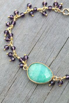 Multi Color Druzy Gemstone Bangles Half Moon Shape Gold Plated Bangles SKU25077