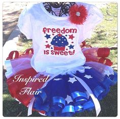 Custom Red White Blue Star & Cupcake Tutu and Embroidered Shirt Set Perfect for Pageants, Birthdays, Family Photos, Military Props and More on Etsy, $78.00