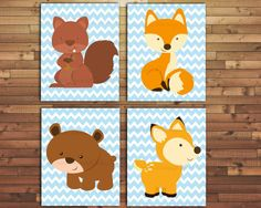 Forest Animals Nursery Wall art-Woodland Animals by Raising3Cains