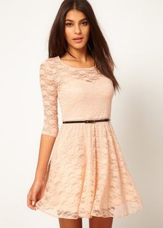 Elegant Beige Round Neck Half Sleeve A Line Dress   Rosewe.com