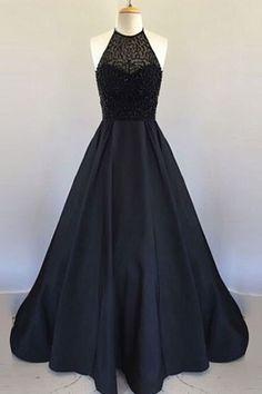 Halter Black Handmade Prom Dress,Long Prom Dresses,Prom Dresses,Evening Dress, #longpromdresses