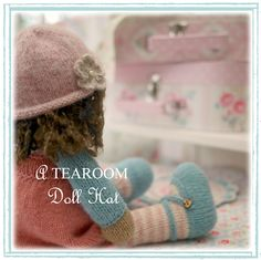A Tearoom Doll Hat/ PDF Toy Knitting Pattern / by maryjanestearoom Knitted Flower Pattern, Knitted Flowers, Basic Crochet Stitches, Crochet Basics, Knitted Dolls, Knitted Hats, Cast On Knitting, Pinafore Pattern, How To Purl Knit