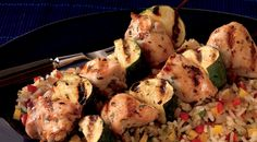 Made this for dinner tonight and it was Great! -JJ Lemon-Oregano Chicken Kabobs over Confetti Rice
