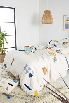 geo-embellished bedding from Anthropologie's spring collection