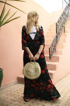 Fann Ekstrand in Ganni Dress and Chêne Round Straw Basket Bag Scandinavian Fashion, Basket Bag, Fashion Outfits, Womens Fashion, Hair Inspo, What To Wear, Style Me, Walking Closet, Fashion Styles