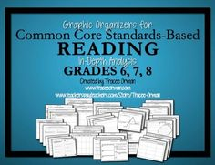Common Core Fiction and Non-Fiction Reading Graphic Organizers for Grades 6, 7, and 8