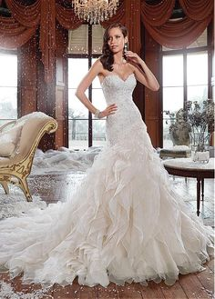Buy discount Amazing Organza Sweetheart Neckline Mermaid Wedding Dress With Beaded Lace Appliques at Dressilyme.com