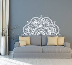 Vinyl Wall Decal Half Mandala Wall Mural Sticker Yoga Lover Gift Home Headboard Decor Interior Design Bedroom Decals Art Headboard Decal, Wall Decals For Bedroom, Vinyl Wall Decals, Bedroom Decor, Sticker Vinyl, Flower Decals For Walls, Bedroom Headboards, King Headboard, Bedroom Sets