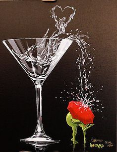 """Michael Godard - """"Raining romance"""" Limited Edition Canvas Giclee - by Martini glass and heart Valentine's Day art print. Casino Party Decorations, Casino Theme Parties, Party Centerpieces, Godard Art, Red Umbrella, Casino Night Party, Wow Art, Art For Art Sake, Martini"""