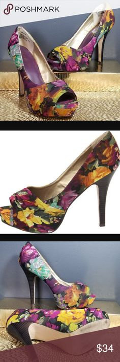 MADDEN GIRL Floral Stiletto Peep Toe Heels 7 Vibrant bold floral peep toe stilleto heel Landdon Steve Madden Shoes Heels