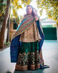 Iman looks absolutely ravishing in this intricately worked, multi coloured bridal Latest Pakistani Dresses, Pakistani Fashion Party Wear, Pakistani Wedding Outfits, Pakistani Wedding Dresses, Nikkah Dress, Pakistani Dress Design, Bridal Outfits, Indian Fashion, Pakistani Mehndi