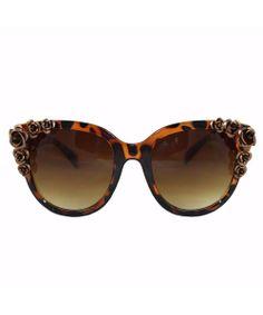 Brown Tortoise Floral Beaded Large Frame Cat Eye Sunglasses #shoplately