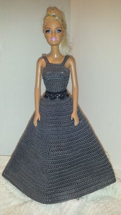 Crochet Barbie Clothes, Barbie Dark Grey Dress, Evening Gown Barbie Doll Outfit