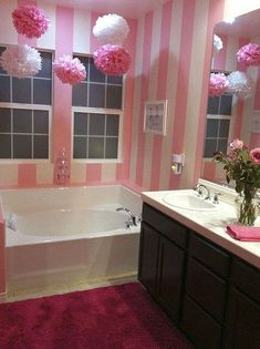 Girly Bathroom Decor elements can add a contact of fashion and design to any dwelling. Girly Bathroom Decor can mean many issues to many people, but all of them… Pink Bathrooms Designs, Girl Bathrooms, Bathroom Sets, Small Bathroom, Master Bathroom, Gold Bathroom, Girl Bathroom Ideas, Modern Bathroom, Indian Bathroom