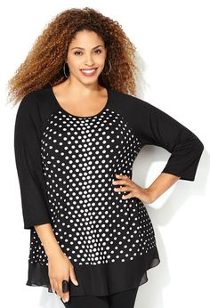 Polka Dot Raglan Tee Plus size style in sizes 14-32 available online at avenue.com.