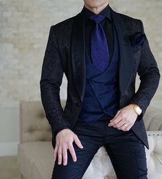 S by Sebastian Black Paisley Dinner Jacket Look with Our Navy Blue Double Breasted Waistcoat and Trousers. #sebastiancruzcouture