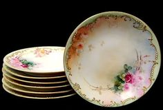 """143: 7 Limoges T&V Pollock hand painted 7.25"""" plates : Lot 143"""