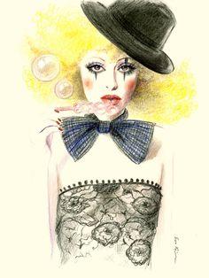 Colored pencil drawing illustration  Circus girl от sookimstudio