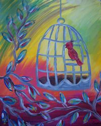 New Bird Cage Painting Class at Whimsy Art Studio-a paint and sip. Canvas And Cocktails, Blush Walls, Paint And Sip, Painting Wallpaper, Paint Party, Easy Paintings, Painting For Kids, Bird Art, Art Studios