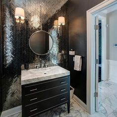 "714 Likes, 14 Comments - Interior Design & Home Decor (@inspire_me_home_decor) on Instagram: ""Powder room goals! Yay or Nay on shiny tile on walls??"""