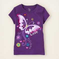 girl - graphic tees - love butterfly graphic tee | Children's Clothing | Kids Clothes | The Children's Place Baby Girl Shirts, Shirts For Girls, Toddler Girl Outfits, Kids Outfits, Girls Tennis Skirt, T Shirt Painting, Kids Wear, Kids Fashion, Couture